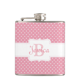 Personalized Pink Polka Dot Flask