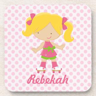 Personalized Pink Polka Dots Blonde Roller Skating Beverage Coaster