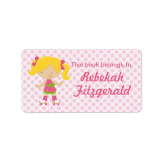 Personalized Pink Polka Dots Blonde Roller Skating Address Label