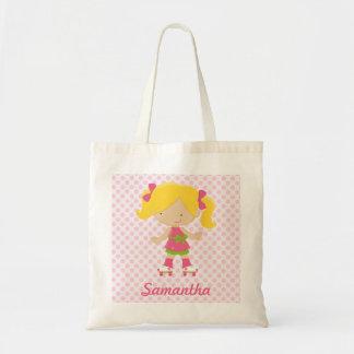 Personalized Pink Polka Dots Blonde Roller Skating Tote Bag