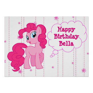 Personalized Pink Pony Happy Birthday Poster