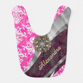 Personalized pink pretty girly damask pattern bib