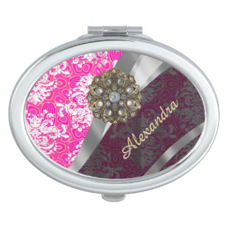 Personalized pink pretty girly damask pattern makeup mirror