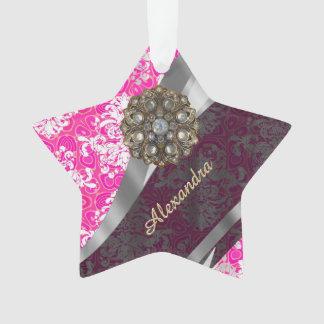 Personalized pink pretty girly damask pattern ornament