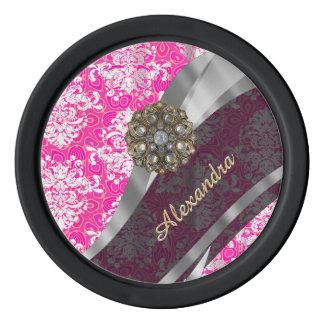 Personalized pink pretty girly damask pattern poker chips