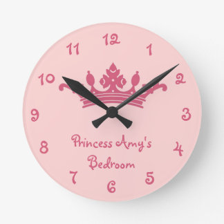 Personalized Pink Princess Girl's Bedroom Wall Clock