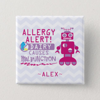 Personalized Pink Robot Dairy Allergy Alert Pin