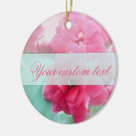 Personalized Pink rose flower photo ornament