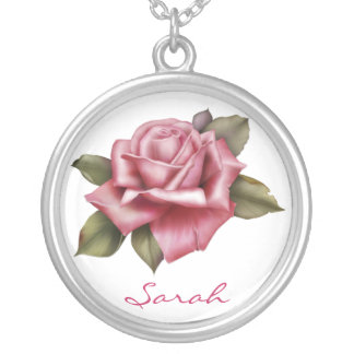 Personalized Pink Rose Valentine Round Pendant Necklace