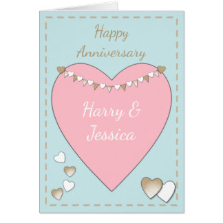 Personalized pink Rustic Wedding Anniversary Card