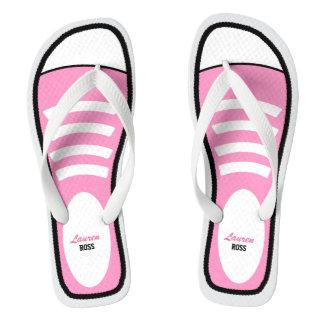 Personalized Pink Sneakers Flip Flops