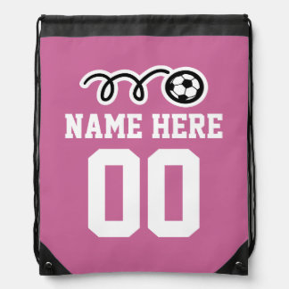 Personalized pink soccer drawstring backpack bag