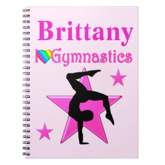 PERSONALIZED PINK STAR GYMNASTICS JOURNAL NOTE BOOKS