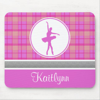 Personalized Pink Sweetheart Plaid Dancer Mouse Pad