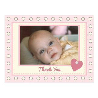 Personalized pink Thank you Baby Girl Photo Postcard