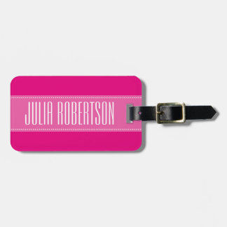 Personalized pink travel luggage tag for women