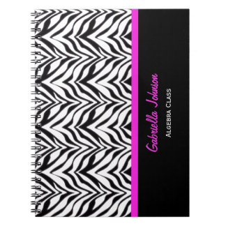 Personalized: Pink Trimmed: Zebra Print Notebook