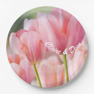 Personalized Pink Tulip Paper Party Plates