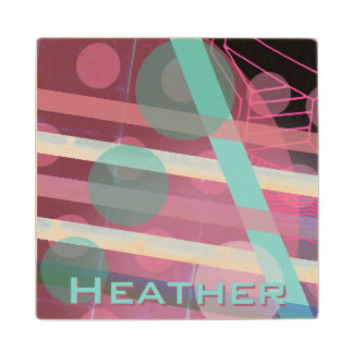 Personalized/Pink & Turquoise/Abstract Design Wood Coaster
