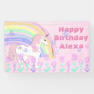 Personalized Pink Unicorn Rainbow Birthday Banner