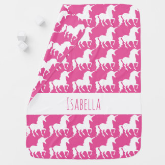 Personalized Pink Unicorn Silhouette Pattern Baby Baby Blanket
