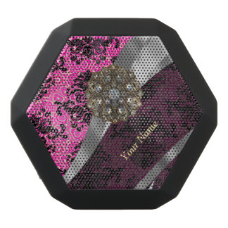 Personalized pink vintage damask pattern black bluetooth speaker