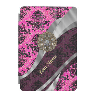 Personalized pink vintage damask pattern iPad mini cover