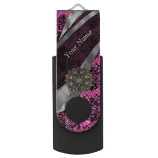 Personalized pink vintage damask pattern USB flash drive