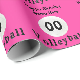PERSONALIZED Pink Volleyball Wrapping Paper