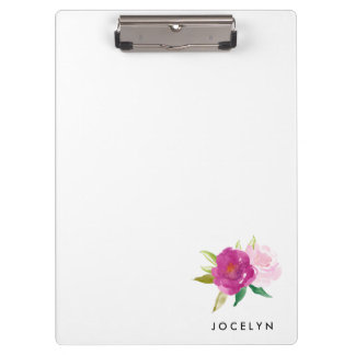 Personalized Pink Water Color Rose Clipboard