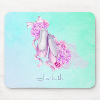 Personalized Pink Watercolor Ballet Slippers Mouse Pad
