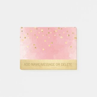 Personalized Pink Watercolor Faux Gold Foil Post-it Notes