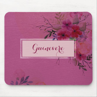 Personalized Pink Watercolor Floral Leather Look Mouse Mat