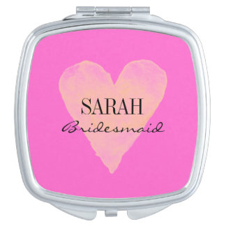 Personalized pink watercolor heart compact mirror