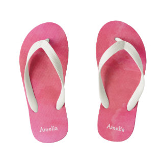 Personalized Pink Watercolor Texture Flip Flops