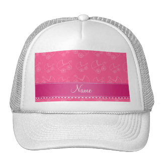 Personalized pink white baby carriages trucker hat