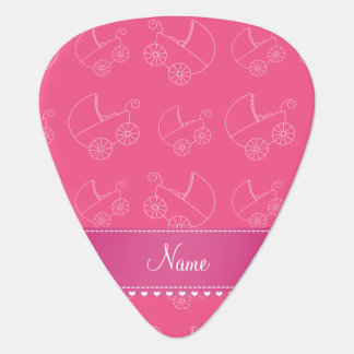 Personalized pink white baby carriages guitar pick