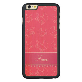 Personalized pink white baby carriages carved® maple iPhone 6 plus slim case