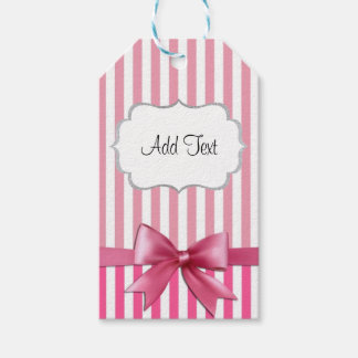 Personalized Pink & White Striped Sticker with Bow Gift Tags