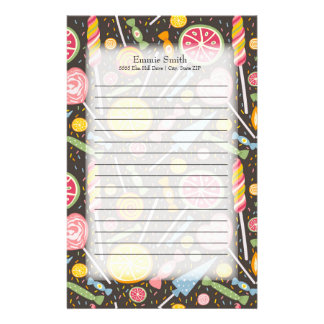 Personalized Pink Yellow Green Candy on Brown Stationery