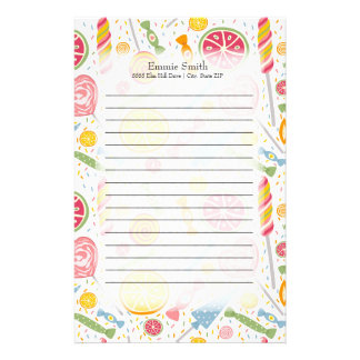 Personalized Pink Yellow Green Candy on White Stationery