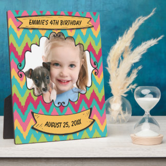 Personalized Pink Yellow Teal Chevron Photo Frame