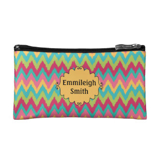 Personalized Pink Yellow Teal Green Chevron Cosmetic Bag