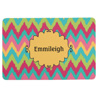 Personalized Pink Yellow Teal Green Chevron Floor Mat