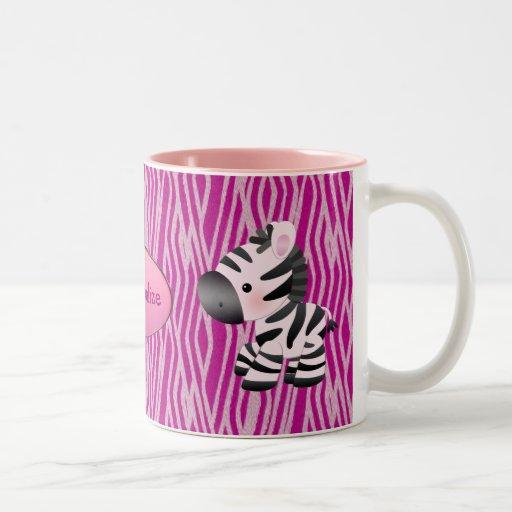 Personalized Pink Zebras & Animal Print Mug