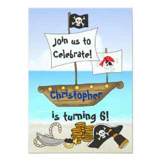 Personalized Pirate Beach Boys Birthday Invitation