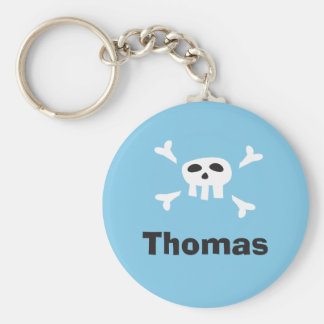 Personalized pirate party favor keychain skull