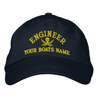 Personalized pirate sailing engineer embroidered hat