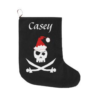 Personalized Pirate Santa Large Christmas Stocking