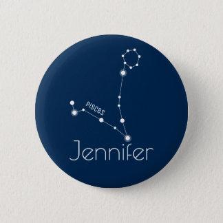 Personalized Pisces Zodiac Constellation 6 Cm Round Badge